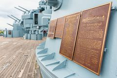Memorial Plaques on The USS Alabama Battleship at the Memorial Park in Mobile Alabama USA. Memorial Plaques on The USS Alabama Battleship at the Memorial Park in royalty free stock images