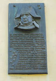 Memorial plate to the emperor of France Napoleon Bonaparte Royalty Free Stock Photo