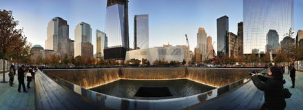 Memorial Pools Panorama at National 9/11 Memorial. A view of the memorial pools at dusk at the National September 11 Memorial at the World Trade Center site in Stock Image