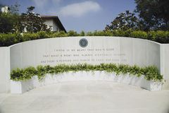 Memorial with Reagan quotation at the Ronald W. Reagan Presidential Library Royalty Free Stock Photography
