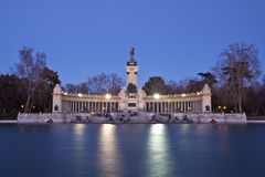 Memorial in Retiro city park, Madrid. Evening long exposure shot of the memorial in Retiro city park, Madrid, Spain Royalty Free Stock Images