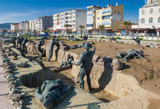 Memorial sculptures in Turkey. Memorial sculptures of the Gallipoli Campaign on April 21, 2014 in Eceabat, Turkey. The Gallipoli Peninsula is the site of Stock Image