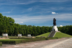 Memorial of the second world war. And russian soldiers in Treptower park, Berlin Stock Photo