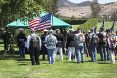 Memorial Service for fallen US Soldier, PFC Zach Suarez, Honor Mission on Highway 23, drive to Memorial Service, Westlake Village, Stock Photo