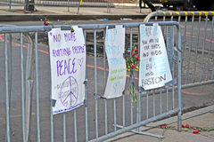 Memorial set up on Boylston Street in Boston, USA, Stock Image