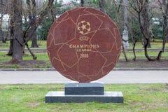 Memorial sign the final UEFA royalty free stock photos