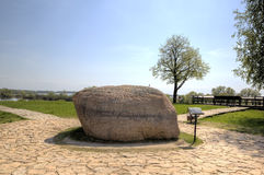 The memorial sign Prince's Stone. Rurik fortress. Stock Photos