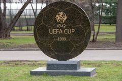 Memorial sign the UEFA Cup final in 1999 Royalty Free Stock Photo