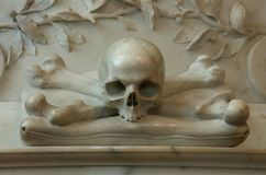 Memorial with skull and cross bones Stock Photo