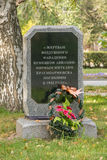 The memorial slab to the victims of an air attack by German aircraft - Krasnoarmeisk civilians who died in 1942 Royalty Free Stock Photo