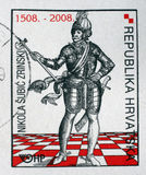 Memorial stamp dedicated to the Nikola Subic Zrinski printed in Croatia Stock Image