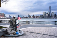 Memorial 9 11 Statue at Exchange Place in Jersey City Stock Photo