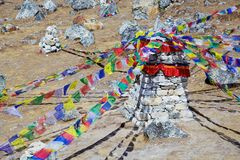 Memorial stone for deceased climbers in himalaya mountains, Nepal Stock Image