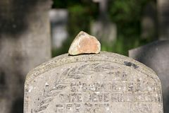 Memorial stone on grave in the old cemetery on the Zuiderweg in Hoogeveen Stock Photography