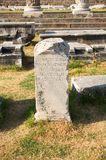 Memorial stone with greek inscriptions, Asclepion, Bergama, Turke Royalty Free Stock Photos