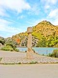 Memorial stone lake Cuber reservoir in the Serra de Tramuntana, Majorca, Spain Stock Images