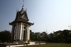 The memorial stupa of the Choeung Ek Killing Fields, Cambodia Royalty Free Stock Images