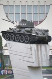 Memorial T-34 russian tank,Tank on the hill stock photos