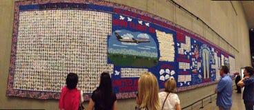 911 memorial tapestry. Quilt exhibit, 911 memorial, New York City, New York Stock Images