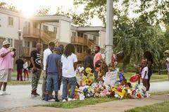 Memorial temporário para Michael Brown em Ferguson MO Foto de Stock