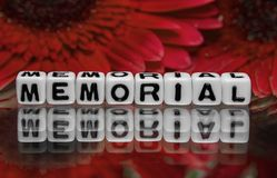 Memorial text message with red flowers Royalty Free Stock Photo