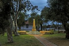 Memorial to all Soldiers that Fought and Died for their Country. Anzac Morning, Before the Dawn Service,and March, Country Town Western Australia. Memorial to stock image