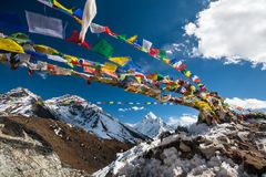 Memorial to all who died while climbing Everest, Khumbu, Nepal.  Stock Photo