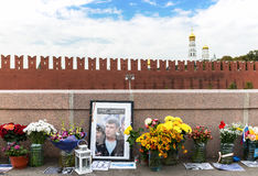 Memorial to Boris Nemtsov on Bolshoy Moskvoretsky Bridge. Stock Images