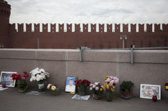 Memorial to Boris Nemtsov on Bolshoy Moskvoretsky Bridge. Royalty Free Stock Image