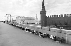 Memorial to Boris Nemtsov on Bolshoy Moskvoretsky Bridge. Stock Photos