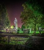 The memorial to the fallen soldiers in the background of star traces in the Kaluga region of Russia. In Russia there are many monuments and memorials dedicated Stock Photography