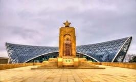Memorial to Hazi Aslanov and station of funicular in Baku Royalty Free Stock Photo