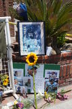 Memorial to Junior Seau in Oceanside, California. Retired NFL Football Player Junior Seau was found dead in his home in Oceanside, California on Wednesday May 2 Stock Photography