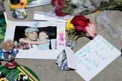 Memorial to Junior Seau in Oceanside, California. Retired NFL Football Player Junior Seau was found dead in his home in Oceanside, California on Wednesday May 2 Royalty Free Stock Photos