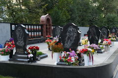 A memorial to the members of the hockey club `Lokomotiv`, who died in a plane crash on 7 September 2011, on Leontyevsky a cemeter Stock Photography