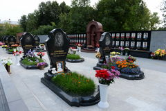 A memorial to the members of the hockey club `Lokomotiv`, who died in a plane crash on 7 September 2011, on Leontyevsky a cemeter. YAROSLAVL, RUSSIA - AUGUST 21 Stock Photography