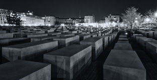 Memorial to the Murdered Jews of Europe at night Stock Images