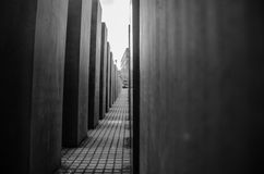 Memorial to the Murdered Jews of Europe. Walking across the Memorial to the Murdered Jews of Europe in Berlin, Germany Stock Photos