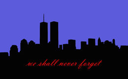 Memorial to september 11th 2001. New york city skyline silhouette with twin towers Royalty Free Stock Images