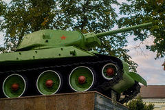 Memorial to Soviet tank T-34 to fallen soldiers in the town of Medyn, Kaluga region, Russia. Stock Images