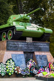 Memorial to Soviet tank T-34 to fallen soldiers in the town of Medyn, Kaluga region, Russia. Stock Photography