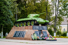 Memorial to Soviet tank T-34 to fallen soldiers in the town of Medyn, Kaluga region, Russia. Stock Photos