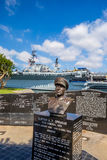 Memorial to Sprague next to the USS Midway in San Diego. Stock Photo
