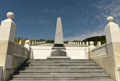 Memorial to the Turkish soldiers who died in First World War on. Galician front Eastern Front in 1916, 1917. Memorial Lopushnya is located in the village stock photography