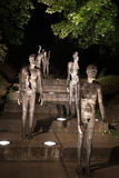 Memorial to the victims of communism,Prague, Czech Republic. Seven bronze statues descending a flight of stairs representing the decomposure of a human body when Royalty Free Stock Images