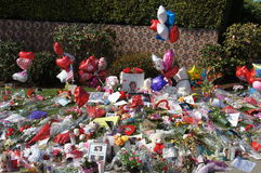 Memorial to Whitney Houston. Flowers, cards, letters and balloons left in front of the Beverly Hilton Hotel in Beverly Hills California where Singer and Actress Royalty Free Stock Photo