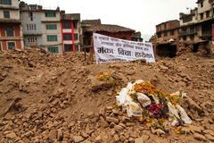 Memorial to those who died in the Nepal earthquake of 25th April Stock Image