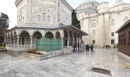 Tomb of the Ottoman sultan Suleiman the Magnificent in Suleymaniye mosque Royalty Free Stock Photo