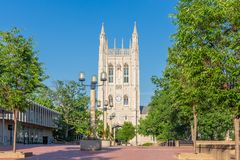 Memorial Union Tower and Lowry Mall at the University of Missouri royalty free stock photos