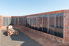 Memorial wall at the military cemetery in Springfontein Royalty Free Stock Image
